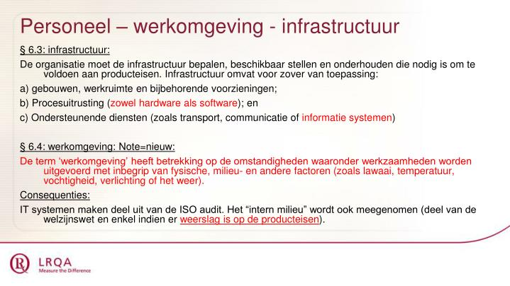 Personeel – werkomgeving - infrastructuur