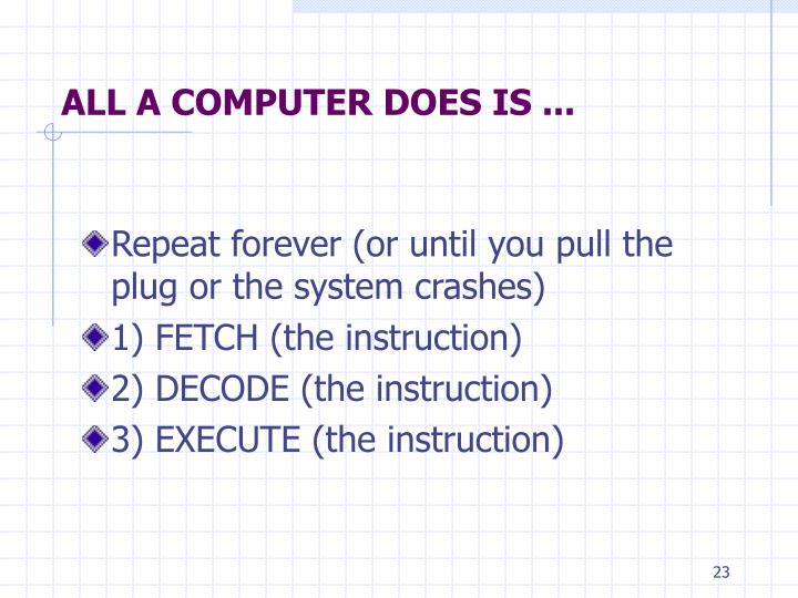 ALL A COMPUTER DOES IS ...