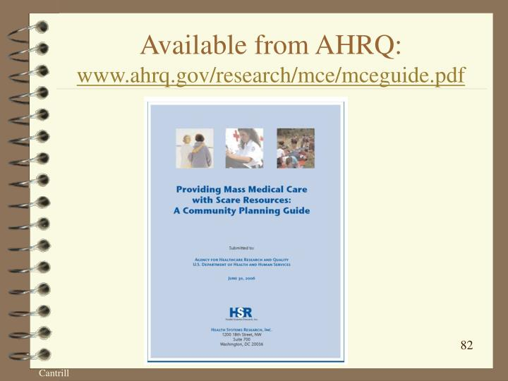 Available from AHRQ: