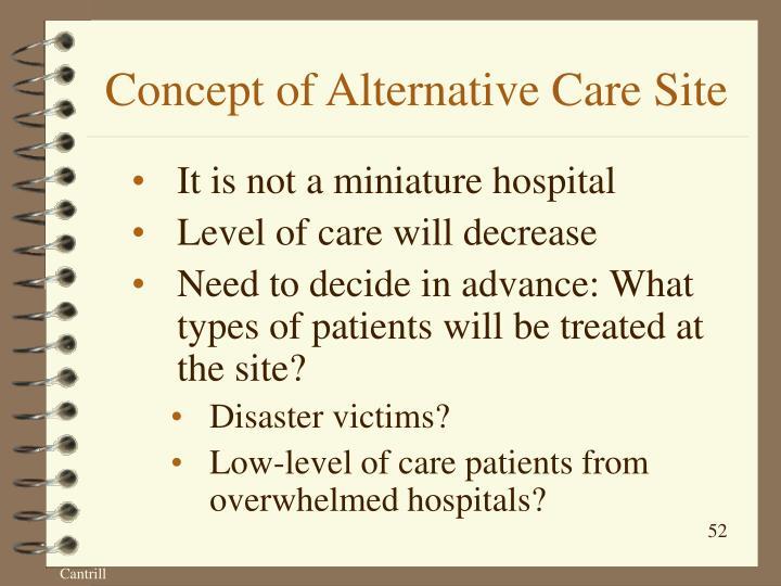 Concept of Alternative Care Site