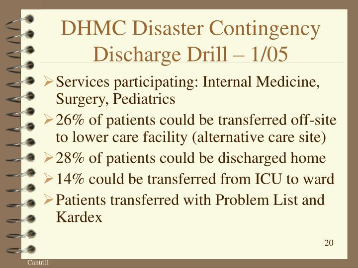 DHMC Disaster Contingency Discharge Drill – 1/05