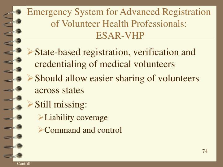 Emergency System for Advanced Registration of Volunteer Health Professionals:
