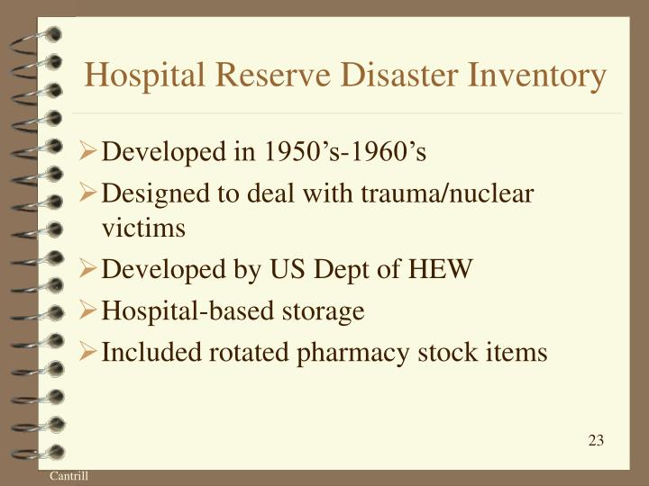 Hospital Reserve Disaster Inventory