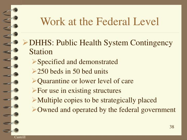 Work at the Federal Level