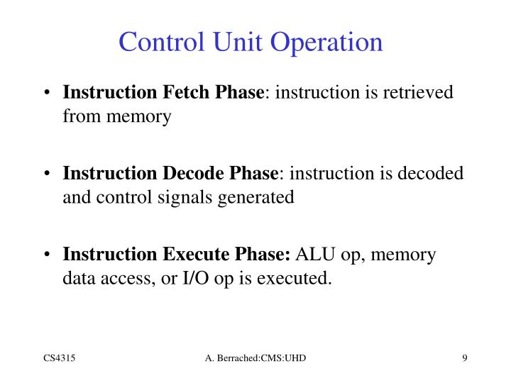 Control Unit Operation