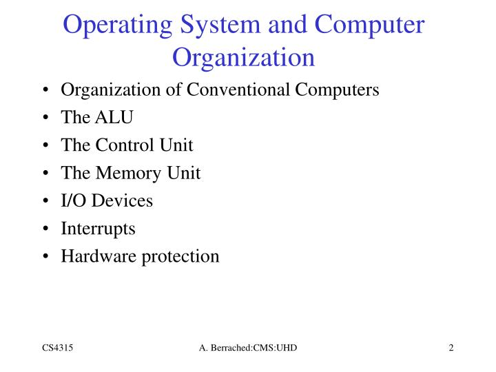 Operating System and Computer Organization