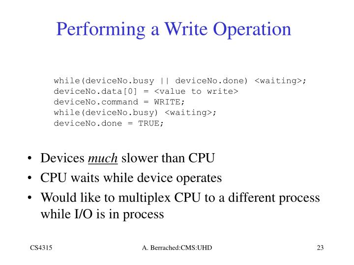 Performing a Write Operation