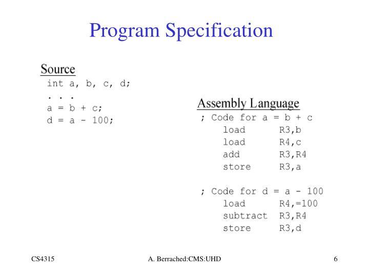 Program Specification