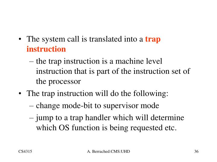 The system call is translated into a