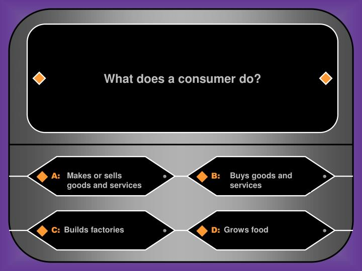 What does a consumer do?