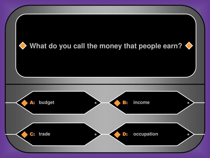 What do you call the money that people earn?