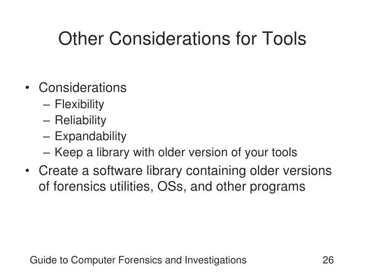Other Considerations for Tools
