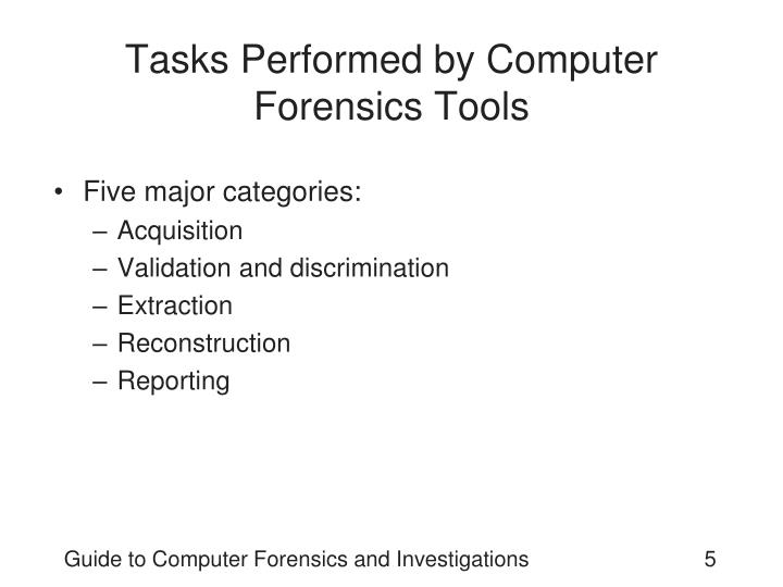 Tasks Performed by Computer Forensics Tools