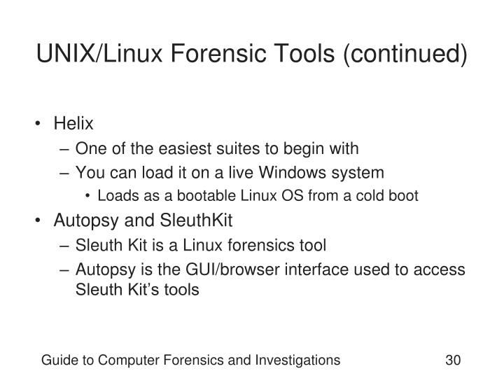 UNIX/Linux Forensic Tools (continued)