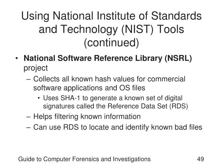Using National Institute of Standards and Technology (NIST) Tools (continued)