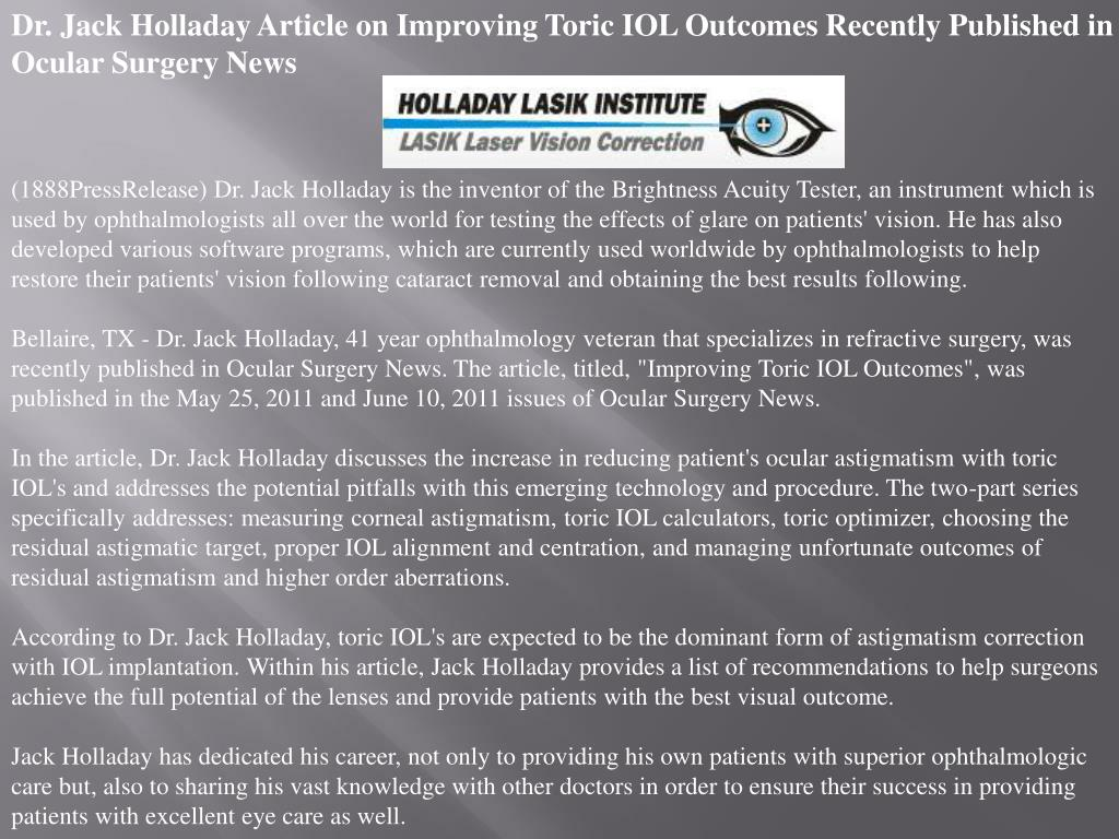 Dr. Jack Holladay Article on Improving Toric IOL Outcomes Recently Published in Ocular Surgery News