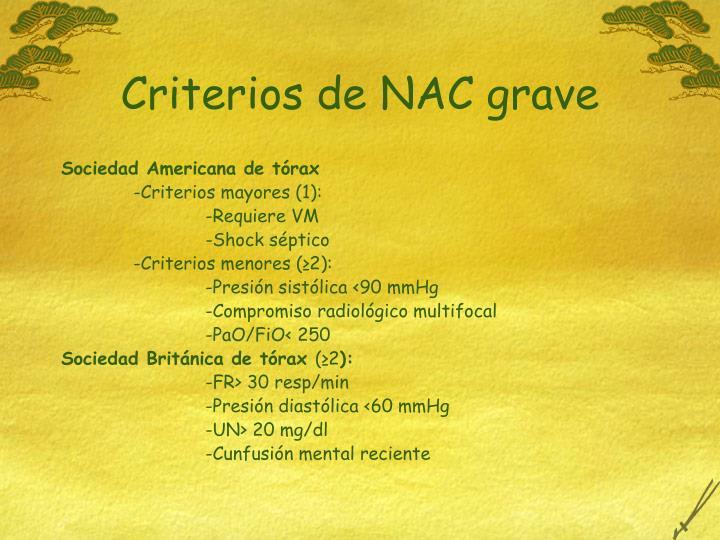 Criterios de NAC grave