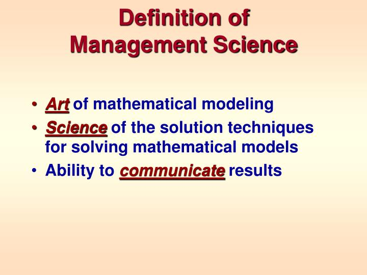Definition of management science