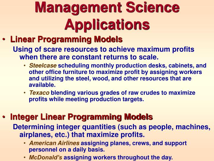 Management Science Applications