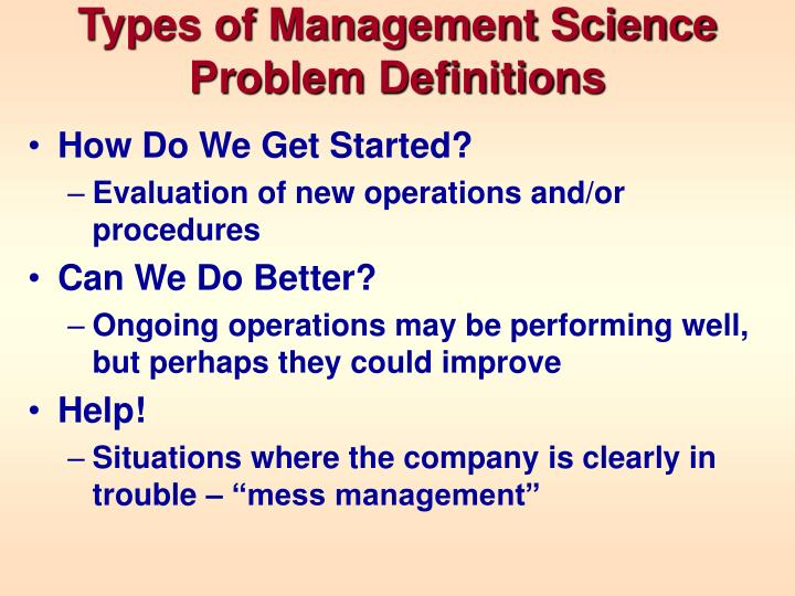 Types of Management Science Problem Definitions