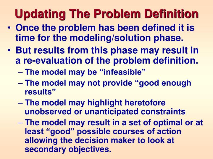 Updating The Problem Definition