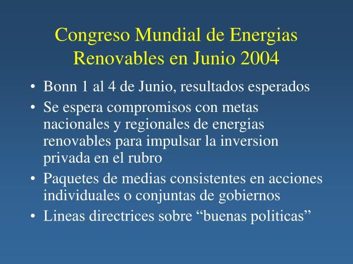 Congreso Mundial de Energias Renovables en Junio 2004