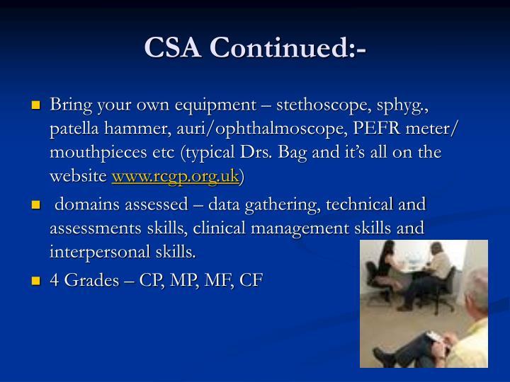 CSA Continued:-