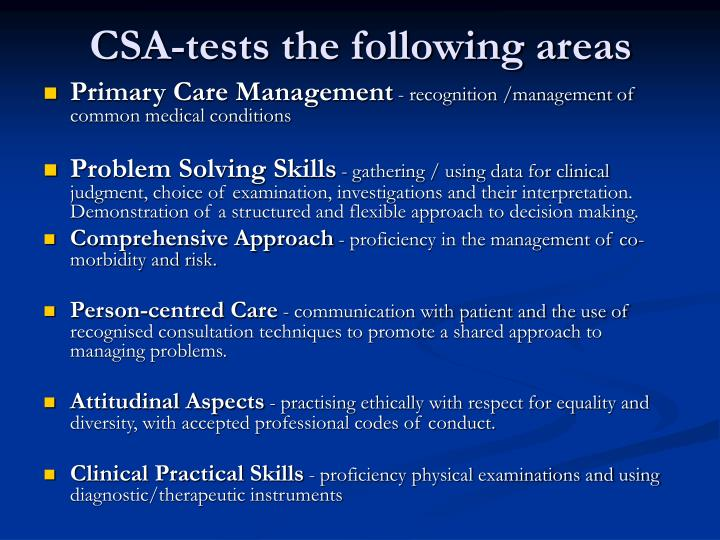 CSA-tests the following areas