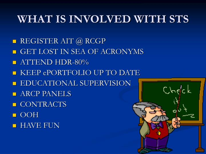 WHAT IS INVOLVED WITH STS