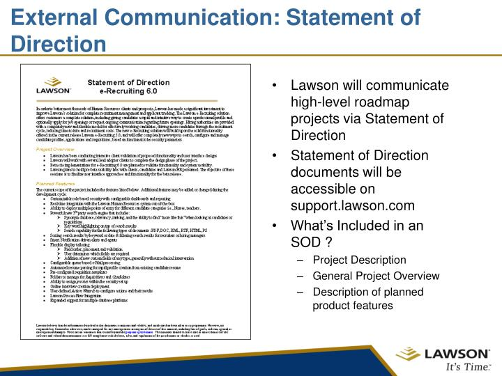 Lawson will communicate high-level roadmap projects via Statement of Direction