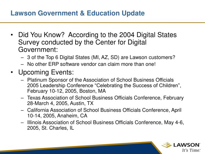 Lawson Government & Education Update