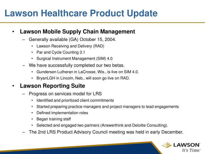 Lawson Healthcare Product Update