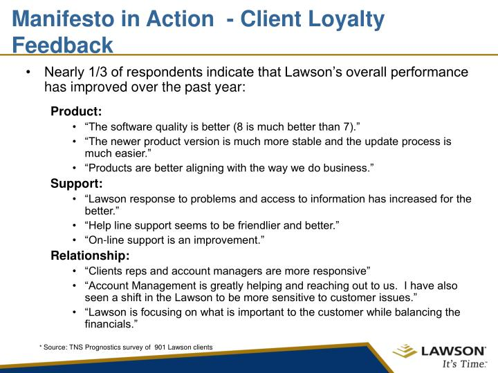 Manifesto in Action  - Client Loyalty Feedback