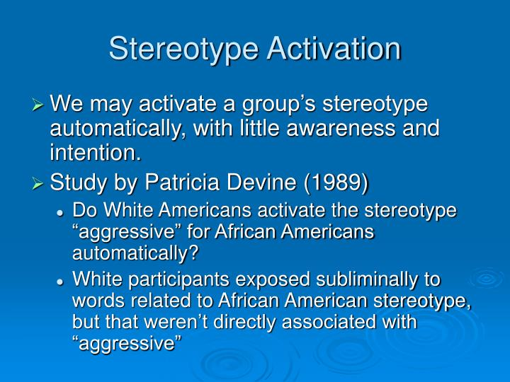 Stereotype Activation