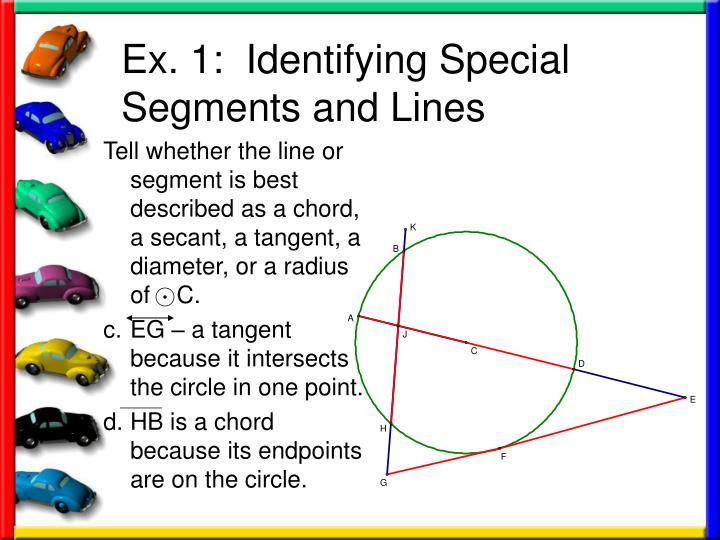 Ex. 1:  Identifying Special Segments and Lines