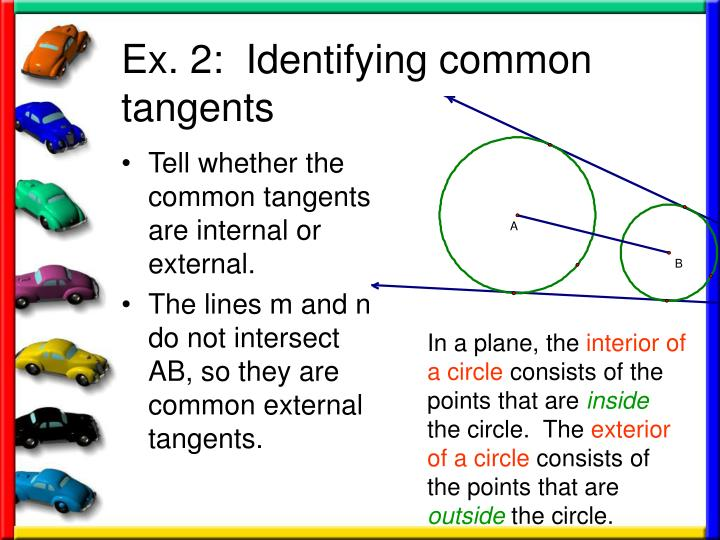 Tell whether the common tangents are internal or external.