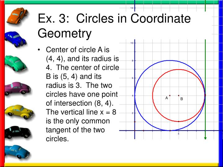 Center of circle A is (4, 4), and its radius is 4.  The center of circle B is (5, 4) and its radius is 3.  The two circles have one point of intersection (8, 4).  The vertical line x = 8 is the only common tangent of the two circles.