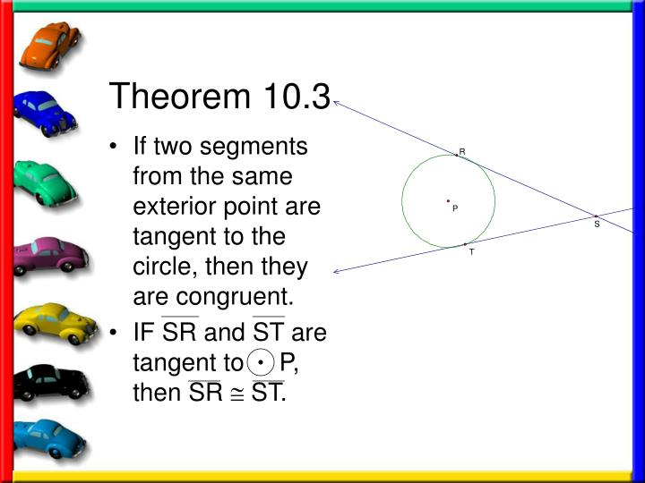 If two segments from the same exterior point are tangent to the circle, then they are congruent.