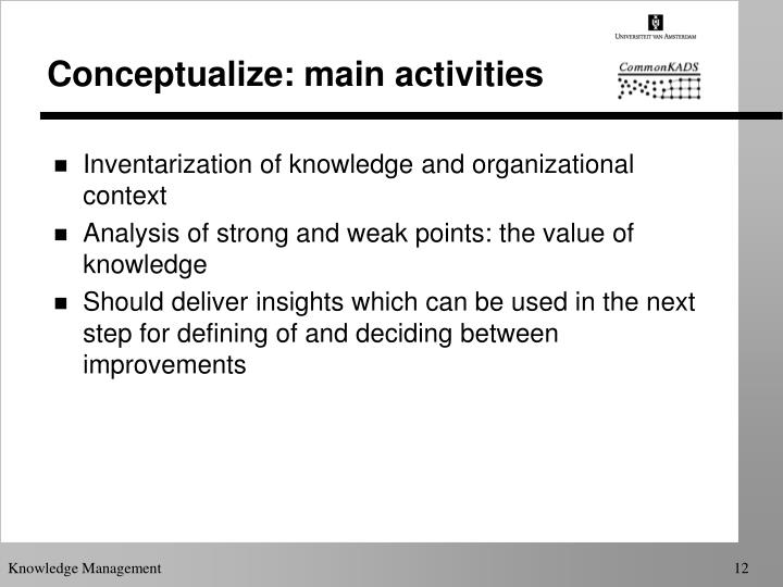 Conceptualize: main activities