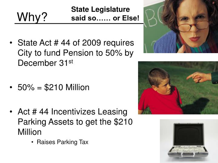 State Legislature said so…… or Else!