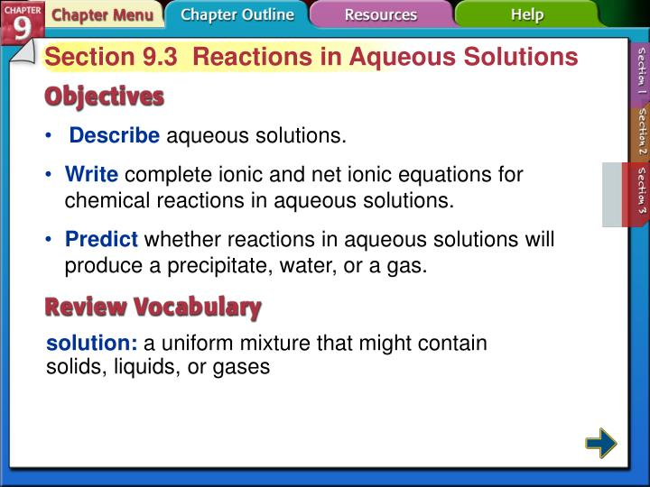 Section 9.3  Reactions in Aqueous Solutions