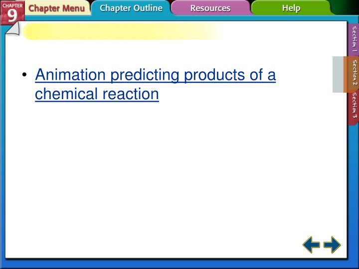 Animation predicting products of a chemical reaction