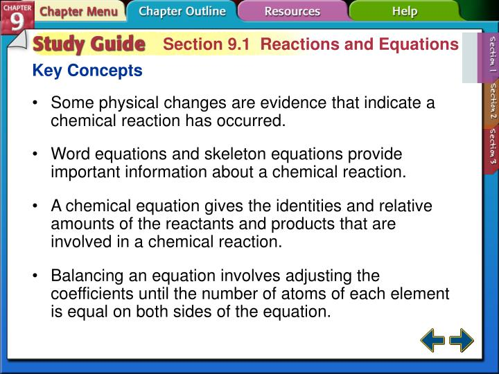 Section 9.1  Reactions and Equations