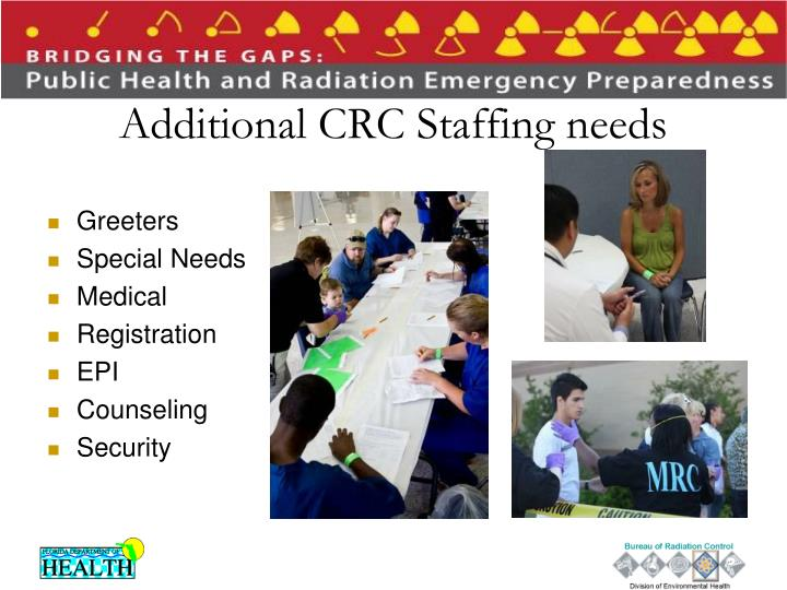 Additional CRC Staffing needs