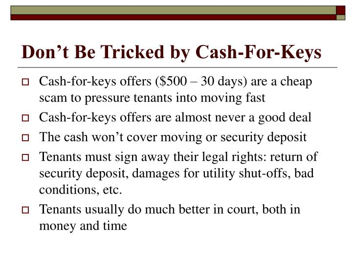 Don't Be Tricked by Cash-For-Keys