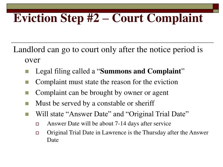 Eviction Step #2 – Court Complaint