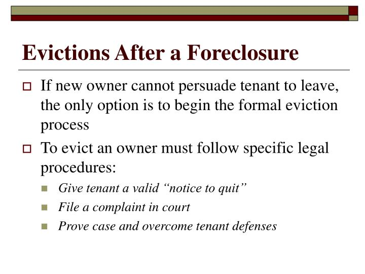 Evictions After a Foreclosure