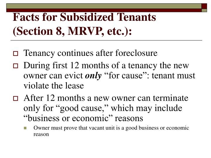 Facts for Subsidized Tenants (Section 8, MRVP, etc.):