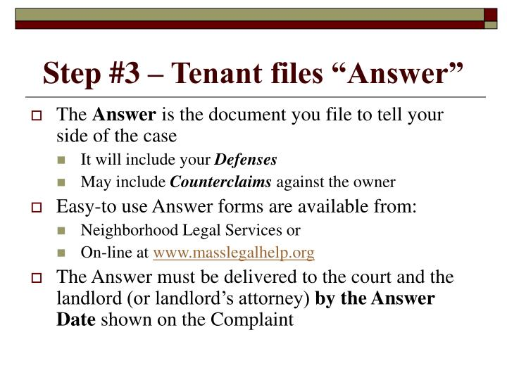 "Step #3 – Tenant files ""Answer"""