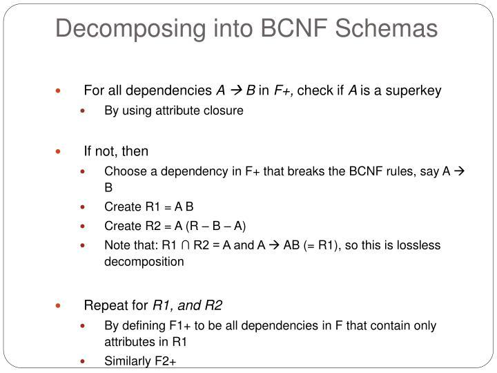Decomposing into BCNF Schemas